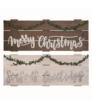 MDF Greenery Christmas Sign 2 Asst