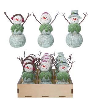 Mini Woodsy Snowman w/Crate S/12