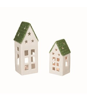 Cer Green Dream Home T/L Holders S/2