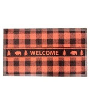 BUFFALO PLAID BEAR FLOORMAT WELCOME