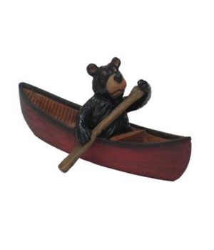 WILLIE BEAR PADDLING CANOE 4 in. ORNAMA