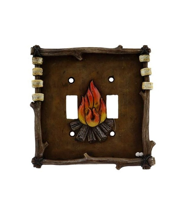 CAMPFIRE DOUBLE SWITCH COVER 5 in.x5 in.
