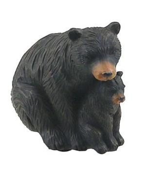 BLACK BEAR CARVED LOOK MOM/CUB 4 in.