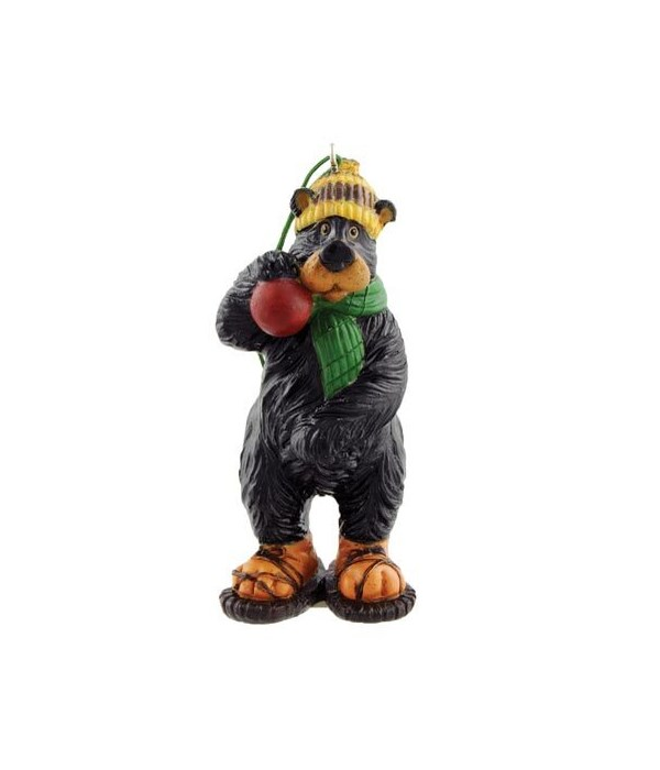 SNOWSHOE WILLIE W/ SNOWBALL ORNAMENT 2 in. x 2 in. x 4 in.