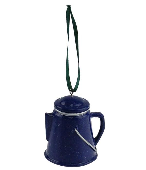 COFFEE POT BLUE ORNAMENT 6/BX 2.5 in. tall