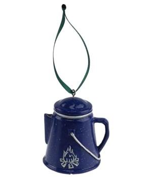 COFFEE POT BLUE/FIRE ORNAMENT 6/BX 2.5 in. tall