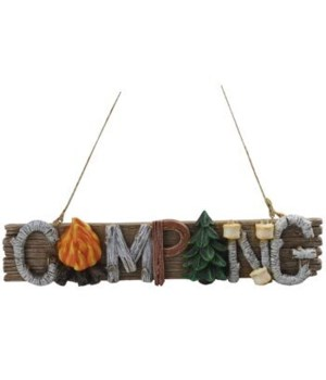 CAMPING WORD ORNAMENT 6/BX