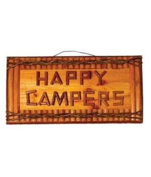 SIGN LOGS HAPPY CAMPERS