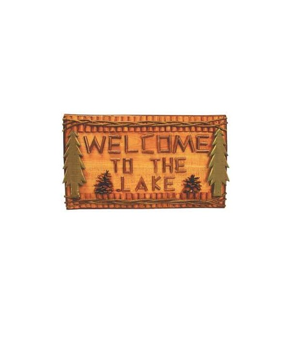 SIGN LOG /TWIGS WELCOME TO THE LAKE 18 in. wide x10.5 in. tall