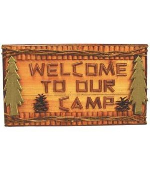 SIGNS LOGS / TWIGS WELCOME CAMP 18 in. wide x10.5 in. tall