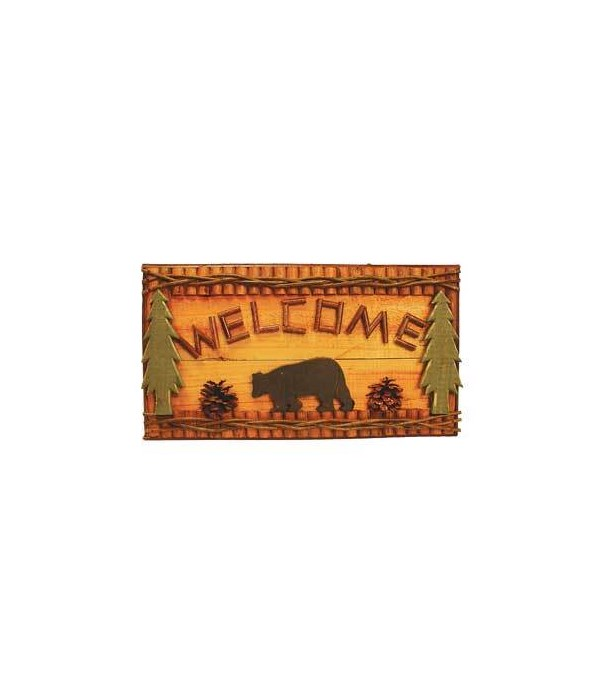 SIGNS LOGS/TWIGS  WELCOME BEAR 18 in. wide x10.5 in. tall