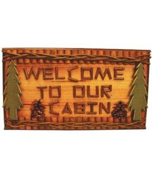 SIGN LOGS WELCOME CABIN 18 in. wide x10.5 in. tall