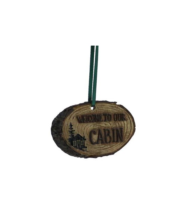 WELCOME CABIN LOG ORNAMENT 12/BX 3 in. x 2 in.