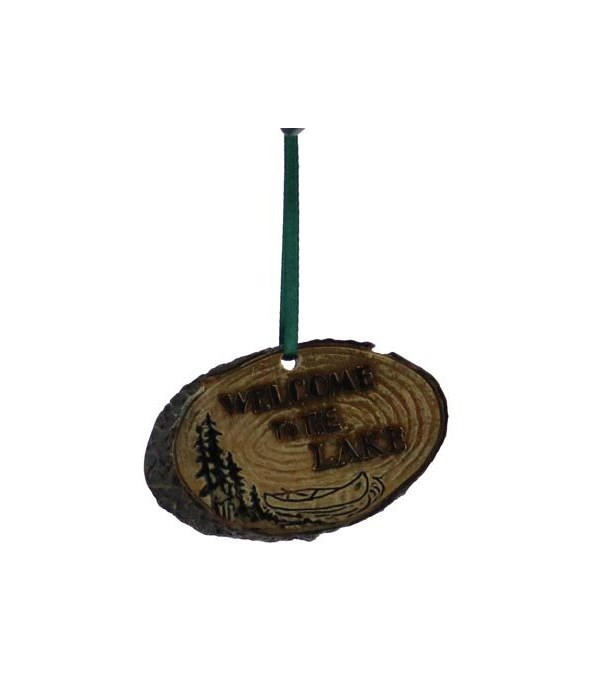 WELCOME LAKE LOG ORNAMENT 12/BX 3 in. x 2 in.