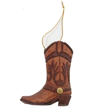 COWBOY BOOT ORNAMENT CARVED 12/BX 3 in. tall