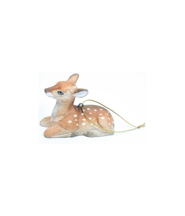 FAWN LAYING ORNAMENT CARVED 12/BX 2 in. x 2.75 in.