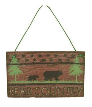 ORNAMENT BEAR COUNTRY SIGN 12/BX 3 in. x 2.5 in.