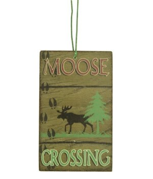 ORNAMENT MOOSE CROSS SIGN 12/BX 3 in. x 2.5 in.