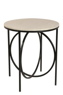 Bengal Manor Iron Circle and Cream Marble Accent Table