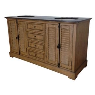 """Oak Ridge 4 Louvered Door / 4 Drawer 60"""" Double Vanity Sink"""