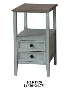 Bethany 2 Drawer Sea Mist Chairside w/ Wood Top