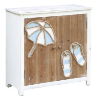 Paradise Beach Flip Flops and Umbrella 2 Door Cabinet