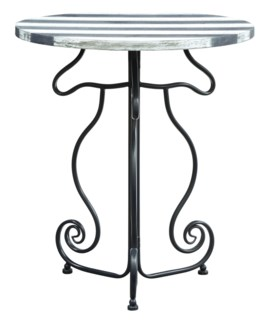 Nautical Navy Seahorse with Striped Navy & White Wood Accent Table