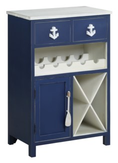 Nautical Navy and White 2 Drawer, 1 Door Wine Cabinet