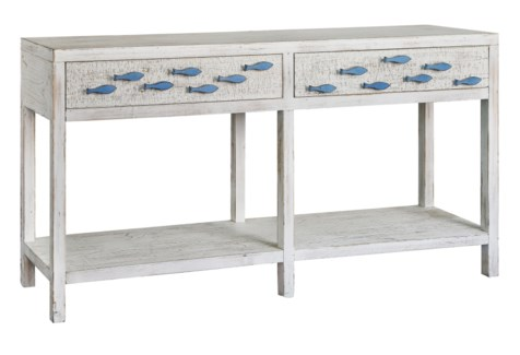 Swimming Upstream Antique White 2 Drawer Aqua Fish Console