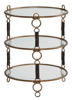 Winchester Antique Gold and Leather Strap 3 Tier Glass Accent Table