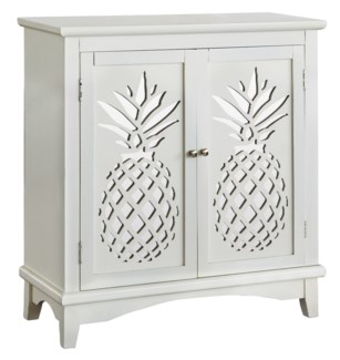 Kailua 2 Door White Cabinet with Laser Cut Pineapple Design