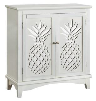 Kailua 2 Door White Cabinet with Laser Cut Pineapple Design