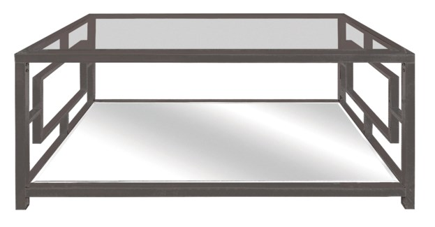 Bentley Chrome Rectangle Design Cocktail Table with Beveled Mirror Top