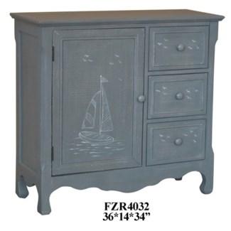 Mystic Harbor Grey Linen Sailboat 3 Drawer 1 Door Cabinet