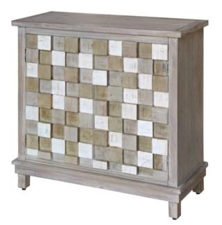 Conrad 2 Door Multi-Colored Raised Block Grey Cabinet