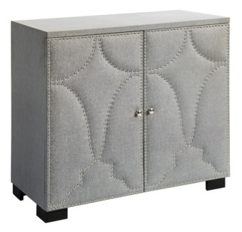 Oliver 2 Door Grey Linen Nailhead Cabinet