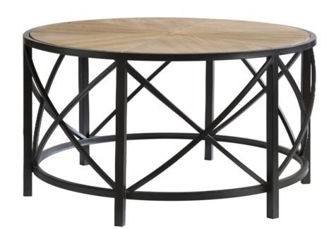 Van Buren Metal and Rustic Wood Cocktail Table