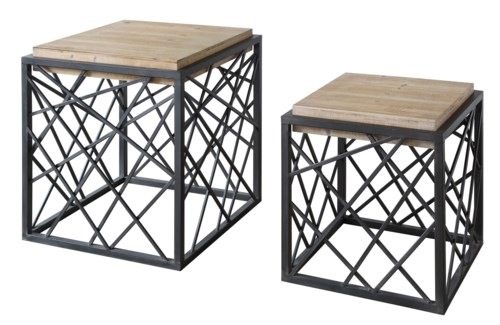 Dawson Crazy Cut Metal and Raised Wood Square Nested Tables