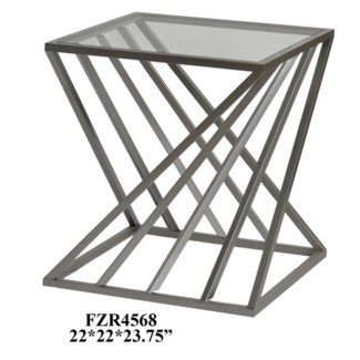 Zeke Antique Silver Metal Angled Square Table