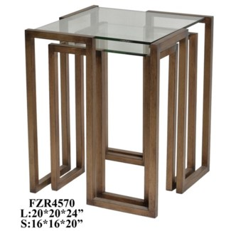Wilshire Continuous Antique Gold Metal and Glass Square Set of Tables