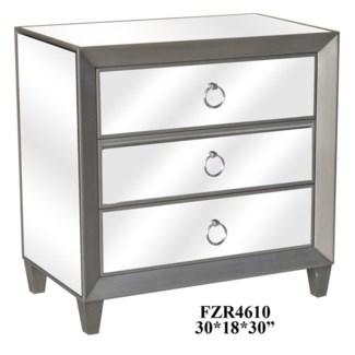Sebastian Metallic Silver and Beveled Mirror 3 Drawer Chest