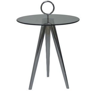 Melrose Chrome Tri Leg and Ring Glass Accent Table