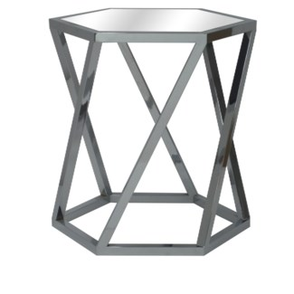 Melrose Chrome Hexagon End Table and Beveled Mirror
