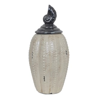Large Seashell Lidded Vase