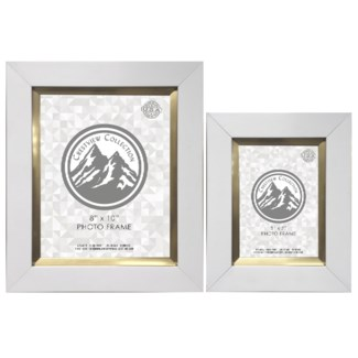 White & Gold Photo Frame Set