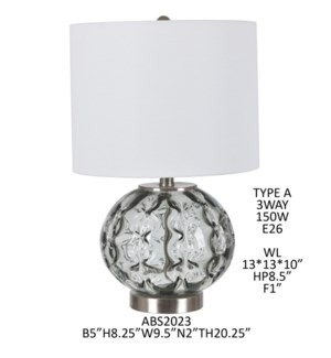 "20.25"" GLASS/ METAL TABLE LAMP, 2PCS PK/2.27'"