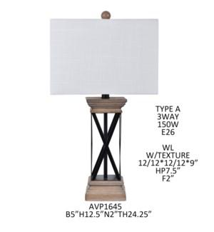 24.25IN RESIN TABLE LAMP/ 2PCS PK/ 2.61'