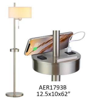 """62""""H FLOOR LAMP WITH USB & OUTLET"""