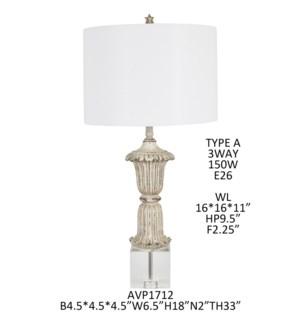 "33""H CRYSTAL + RESIN TABLE LAMP 2PCS UPS PACK 5'"