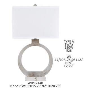 """28.75""""H CLEAR RESIN + CRYSTAL BASE TABLE LAMP  1PCS UPS PACK  2.95'"""